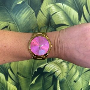 Michael Kors 3624 pink and gold watch